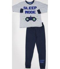 "pijama infantil ""sleep mood"" manga longa gola careca cinza mescla"