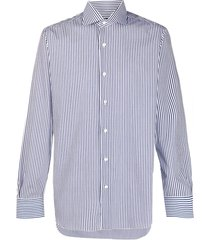 barba vertical stripe-print cotton shirt - white