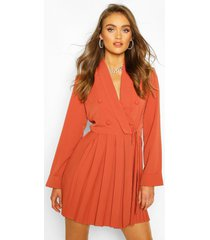 boohoo occasion double breasted blazer dress, apricot