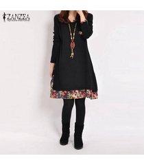 zanzea primavera algodón de las mujeres de lino vestido de otoño de la vendimia vestido hem tamaño de impresión casual o cuello de manga larga del traje del vestido vestidos plus negro -negro