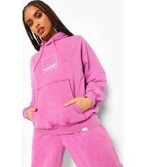 acid wash gebleekte pantone hoodie met voor- en achteropdruk, gewassen roze