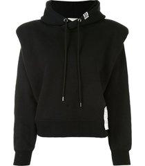 maison mihara yasuhiro shoulder pad logo patch hoodie - black