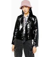 black faux leather vinyl jacket - black