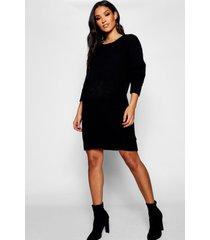 zwangerschap zachte gebreide trui jurk, zwart
