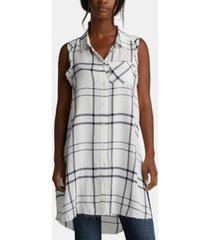 silver jeans co. plaid sleeveless shirt