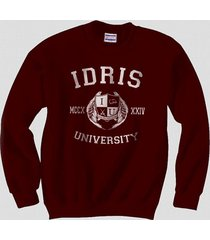 idris university logo shadowhunters crewneck sweatshirt maroon