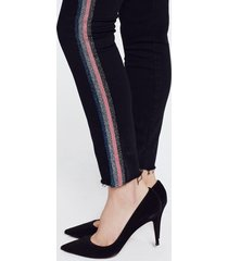 mother jeans looker ankle fray glitter zwart
