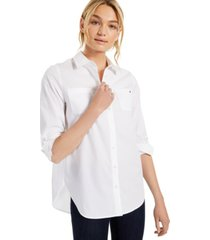 tommy hilfiger easy care cotton tunic shirt