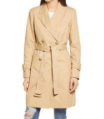 women's avec les filles double breasted cotton trench coat, size medium - brown