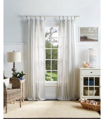 "martha stewart laguna stripe 37"" x 95"" tie tab curtain set"