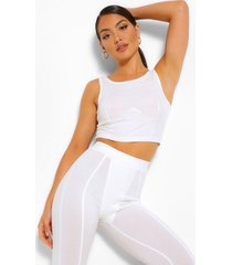 geribbelde leggings, wit