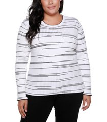 belldini black label plus size variegated stripe long sleeve sweater