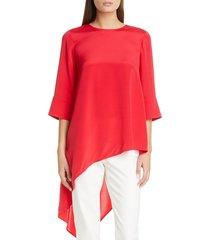 women's st. john collection asymmetrical silk crepe de chine top