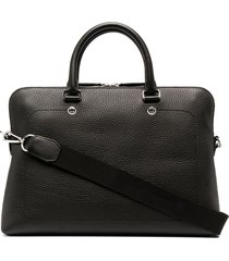 mulberry slim city grained leather briefcase - black