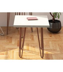 mesa lateral iron 0.45 com pé de ferro off-white - líder design