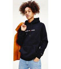 tommy hilfiger men's fleece logo hoodie black - m