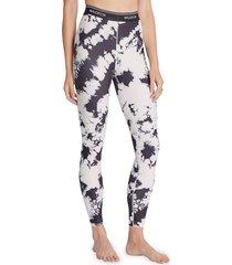 wildfox women's high-waist tie-dyed leggings - black white - size s