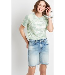 maurices womens high rise light ripped hem relaxed bermuda shorts blue