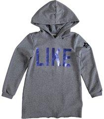 replay lange grijze sweater hoodie