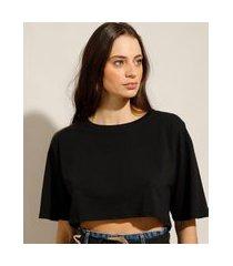 camiseta box cropped básica de algodão manga curta decote redondo preto
