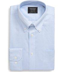 men's big & tall nordstrom men's shop smartcare(tm) classic fit check button-down dress shirt, size 19.5 - 36/37 - blue