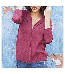 cotton blend hooded cardigan, 'simple delight in cerise' (peru)