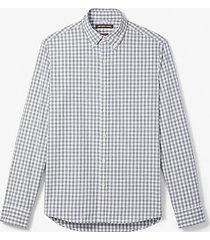 mk camicia slim-fit in cotone a quadri - cenere (grigio) - michael kors