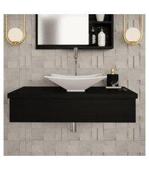 conjunto para banheiro bancada com cuba l38 folha city 800 preto ônix