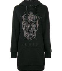 philipp plein tunic-length hoodie - black