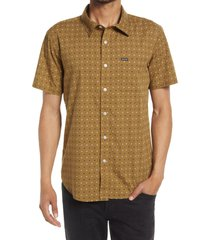 brixton charter print short sleeve cotton blend button-up shirt, size x-large in olive at nordstrom