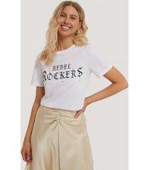 na-kd t-shirt med tryck - white