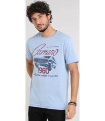 camiseta masculina camaro manga curta gola careca azul claro