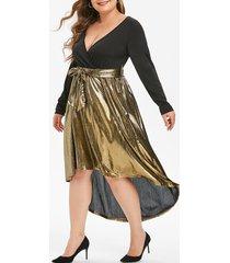 long sleeve gilded shiny high low surplice plus size dress