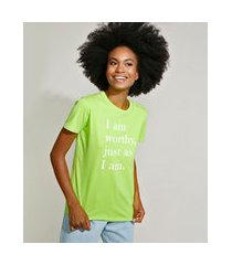"t-shirt feminina mindset i am worthy"" manga curta decote redondo verde claro"""