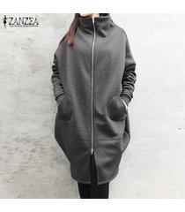 zanzea para mujer cuello alto cuello zip up ropa exterior parka damas causal suelta coats -gris oscuro