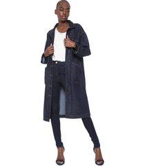 casaco sobretudo jeans colcci eco soul azul - azul - feminino - algodã£o - dafiti