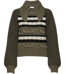 knit pattern gebreide trui groen ganni
