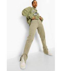 spijkerbroek met rechte pijpen en zijsplit, kaki
