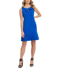dkny tie-neck pleated-hem dress