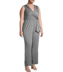 tiana b women's plus tie-waist jumpsuit - black - size 1x (14-16)