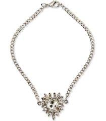 thalia sodi silver-tone multi-crystal heart ankle bracelet, created for macy's