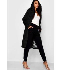 jas met faux fur capuchon, zwart