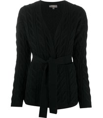 n.peal cable knit tie belted cashmere cardigan - black