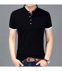 camiseta de manga corta slim para hombre -negro