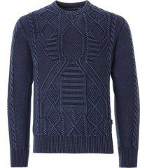 c17 jeans cedixsept indigo dyed cable knit jumper   indigo    c17cab-ind