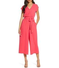 women's eliza j faux wrap crop jumpsuit