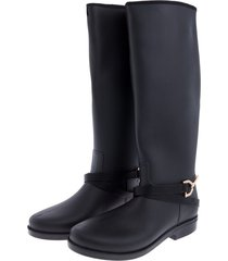 botas de lluvia impermeable horse rider bottplie - negro