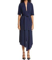 women's adam lippes asymmetrical stretch jersey midi dress, size 0 - blue