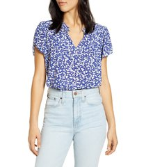 women's lucky brand tulip sleeve floral top, size x-small - blue