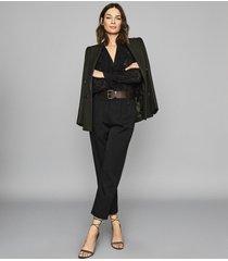 reiss arleigh - ruffle detailed jacquard blouse in black, womens, size 12